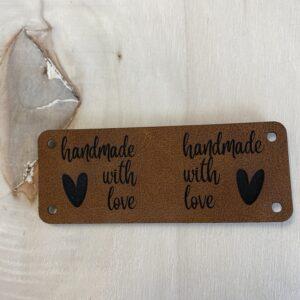 leren label handmade with love